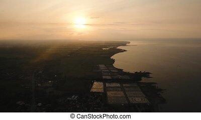 Sunset over sea, aerial view. Jawa Island, Indonesia.