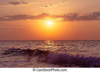 Sunset over sea. - Beautiful sunset over sea waves, nature...