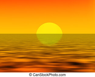 sunset over sea - nice illustration of sunset over sea with...
