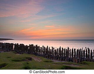 Sunset over sea Netherlands