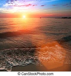 Sunset over Sea.