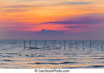 Sunset over seacoast