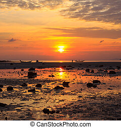 Sunset over she sea during ebb