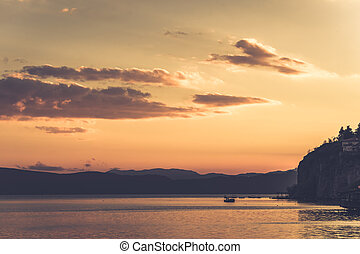 Sunset over stunningly beautiful Lake Ohrid