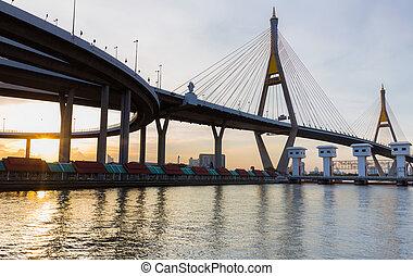 Sunset over Suspension bridge