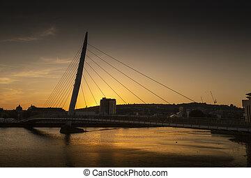 Sunset over Swansea Sail Bridge