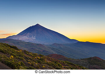 Sunset over Teide volcano in Tenerife, Canary island, Spain