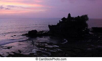 sunset over temple Tanah Lot, Bali