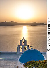 Sunset over the Aegean Sea, Oia, Santorini, Greece