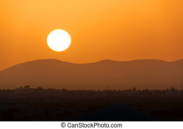Sunset over the Ajaches mountains