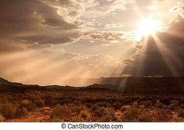 A sunset as a storm approaches along the Arizona desert.