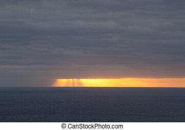 Sunset over the Atlantic Ocean.