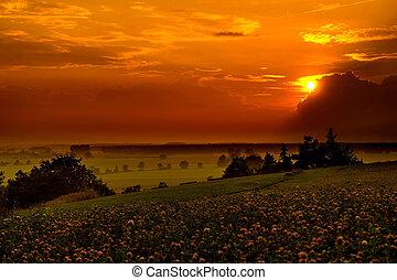Sunset over the Bavarian hills