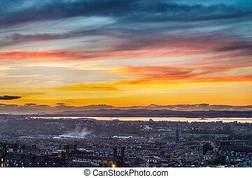 Sunset over the bay in Edinburgh