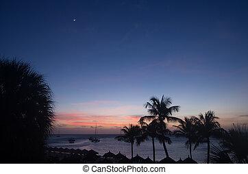 Sunset over the beach in Aruba