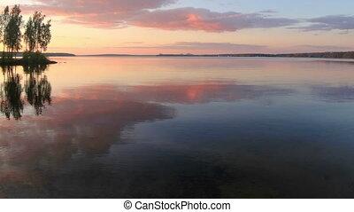Sunset over the Beloyarsk reservoir. Beloyarsk, Sverdlovsk...