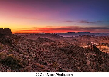 Sunset over the Black Mountains in Arizona
