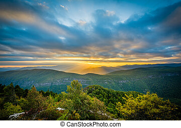 Sunset over the Blue Ridge Mountains from Table Rock, on the...
