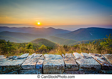 Sunset over the Blue Ridge Mountains, from Skyline Drive, in...