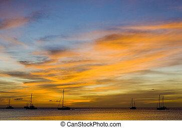 sunset over the Caribbean Sea; Grand Anse Bay; Grenada