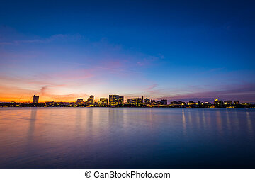 Sunset over the Charles River at the Esplanade in Boston, Massachusetts.