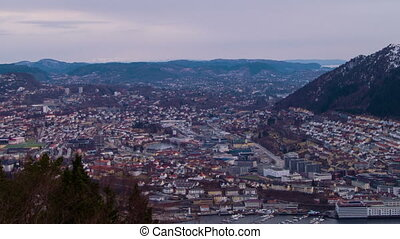 Sunset over the city. Bergen, Norway. Time Lapse