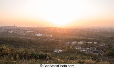 Sunset over the city of Alma Ata. Kazakhstan. Time Lapse