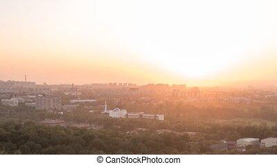 Sunset over the city of AlmaAta. Kazakhstan. Time Lapse