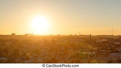 Sunset over the city of Karaganda. Kazakhstan. Time Lapse