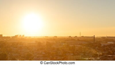 Sunset over the city of Karaganda. Kazakhstan. Zoom. Time Lapse
