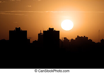 Sunset over the city,