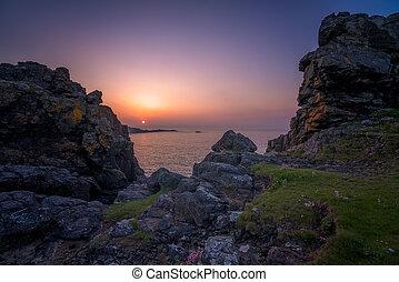 Sunset over the Cornish coast