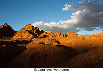 sunset over the desert in the valley of fire nevada usa