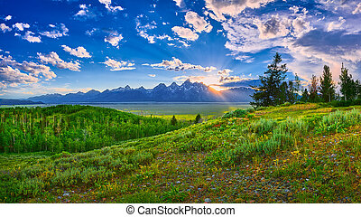 Sunset over the Grand Teton mountain range.