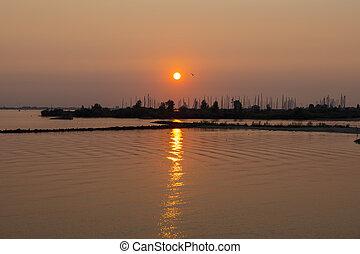 sunset over the harbor of Hellevoetsluis