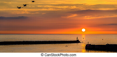 Sunset over the Harbour of Hirtshals