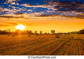 Sunset over the hay bale field