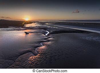 Sunset over the Loughor estuary