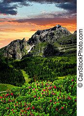 Brenta-Dolomites Italy - sunset over the mountain Brenta-...