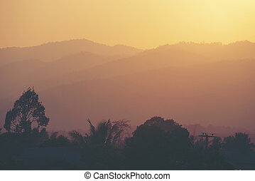 sunset over the mountain, nature landscape view, tropical forest
