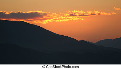 Sunset over the mountains in Murcia, Spain.