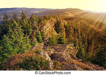 National park Sumava - Sunset over the National park Sumava ...