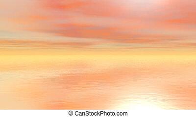 Sunset over the ocean - 3d render