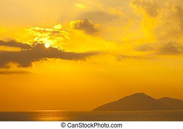 Sunset over the ocean in Hong Kong