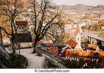 Sunset over the old town of Baden city in Switzerland