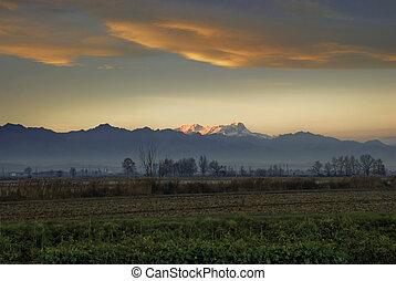 Sunset over the plains of Vercelli