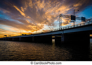 Sunset over the Potomac River and George Mason Memorial Bridge in Washington, DC.