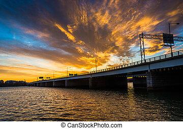 Sunset over the Potomac River and George Mason Memorial Bridge in Washington, DC.