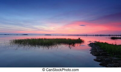 Sunset over the reservoir in Vyshny Volochyok, Vyshnevolotsk...