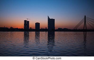 Sunset over the river Daugava in Riga,